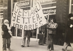 You can see me on the right holding one end of the banner. This was the start of our march to the Concordia University Administration building protesting the Libraries.