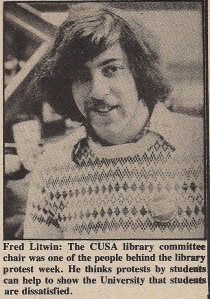 This picture was taken in 1978 for the Loyola News in Montreal. I was the Chair of a Committee investigating the Libraries of Concordia University.