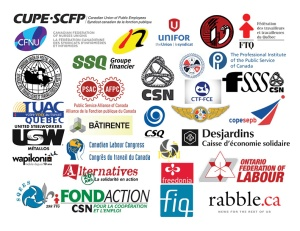 The sponsors for the People's Social Forum in 2014 in Ottawa. The forum was marred by an outmoded, anti-colonialist,